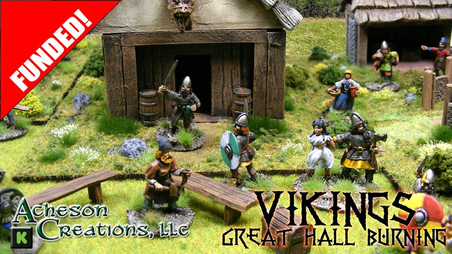Metal Carport Creations : Vikings great hall burning mm tabletop wargaming by