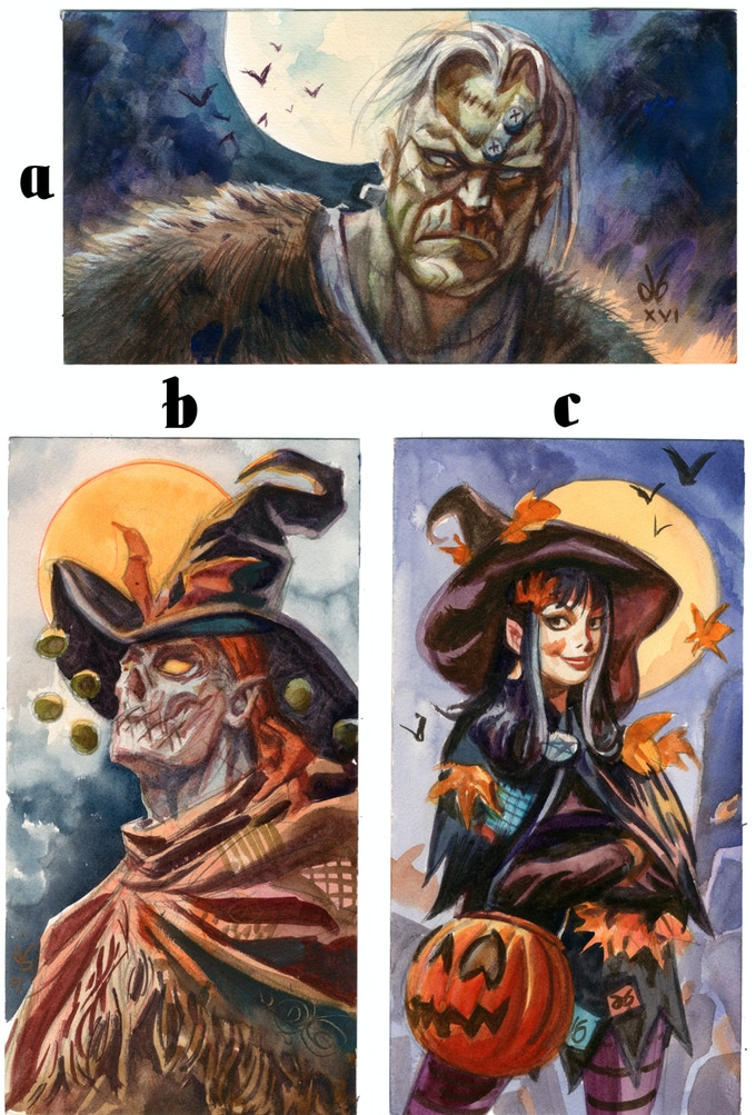 "Original Art Rewards: ""Monster"", ""Gunwitch"", and ""Halloween Girl"". Watercolor on watercolor paper"