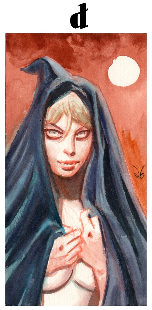 Original Art Reward - Hooded Vamp. Watercolor on watercolor paper