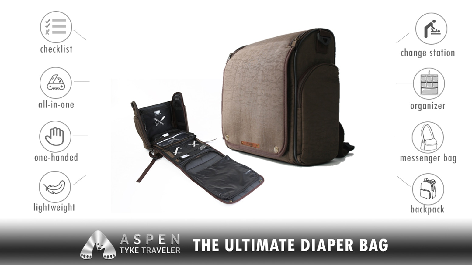 A Smart, Versatile, All-In-One Diaper Bag engineered to make on-the-go with baby more fun and less stress for Mom and Dad.