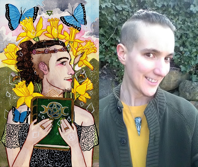 Example: the self portrait of myself as the Creator of Tomes/Queen of Pentacles