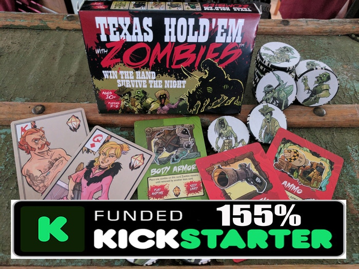 An easy to learn, fast-paced game, combining Texas Hold'em Poker with zombie slaying. For 2-8 players. Ages 10 to infinity.