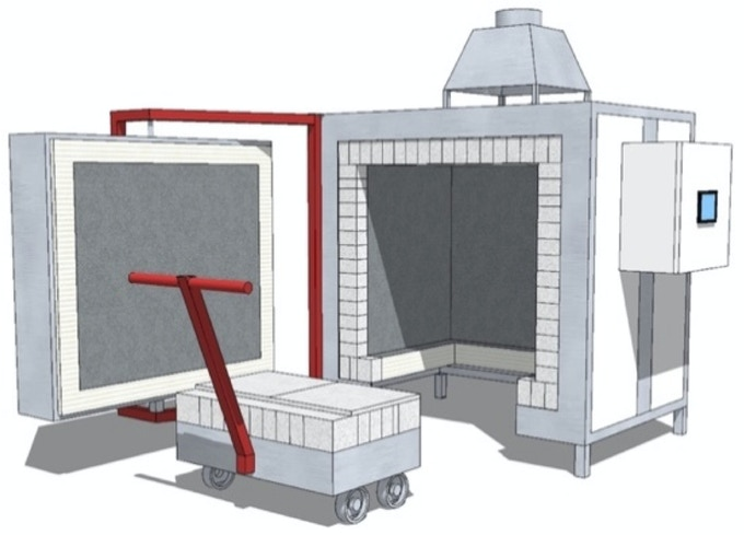 Digital sketch of our custom kiln by BLAAUW, provided by manufacturer.