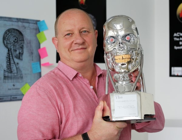 ACW founder Karl with T-800 prototype showing actual size - final version will differ in detail