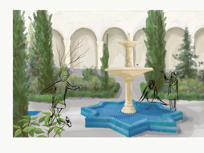 In The Mosque Garden, written by El-Farouk Khaki and Troy Jackson, illustrated by Katie Commodore