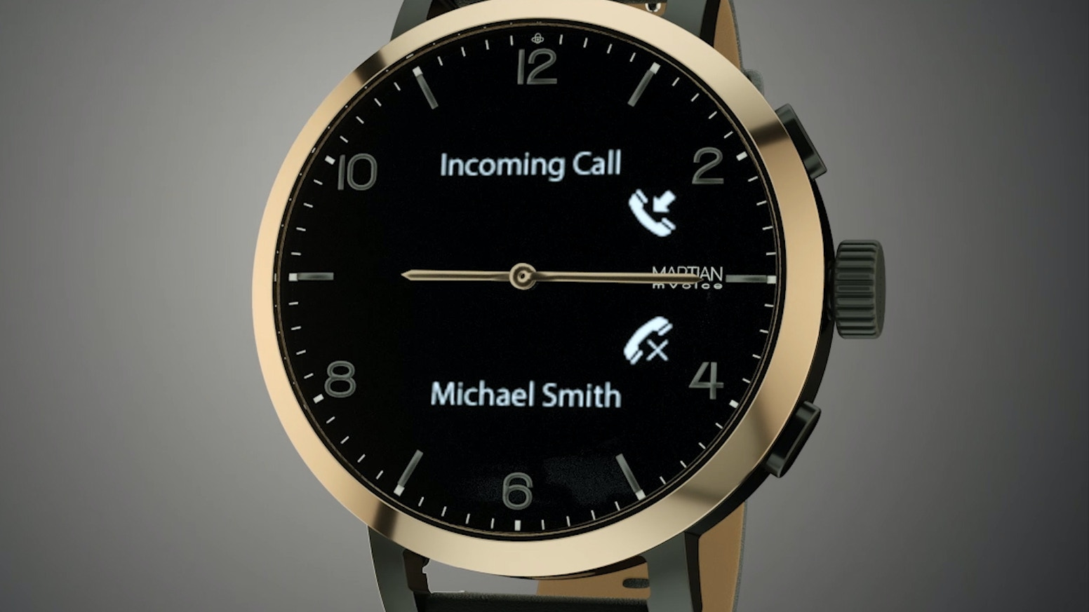 Martian, a smartwatch with analog hands & time markers Initiate Calls & Commands, access Siri, Google & Alexa. Smart Movement & Crown.