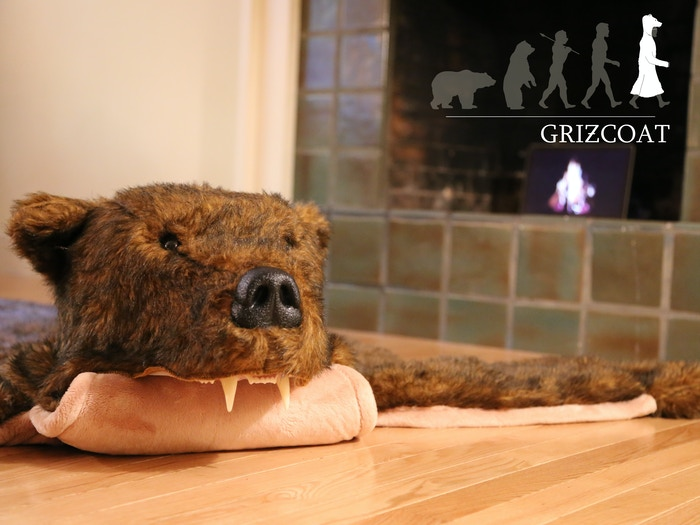 It's not just a Griz Coat on the floor. This bear rug comes with a detachable head that can be worn out to mediocre parties.