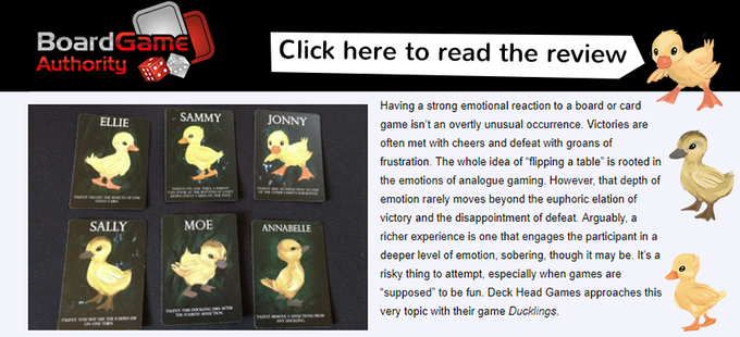 A review of the Ducklings Card Game by Board Games Authority!