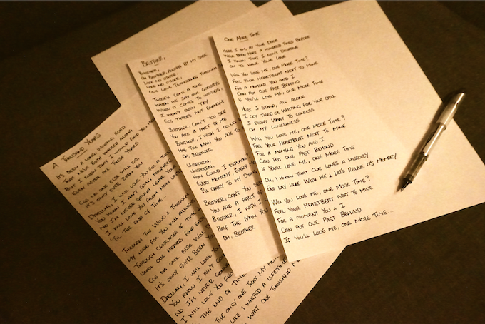 Hand-Written Lyric Sheets - One of the many limited edition rewards available!