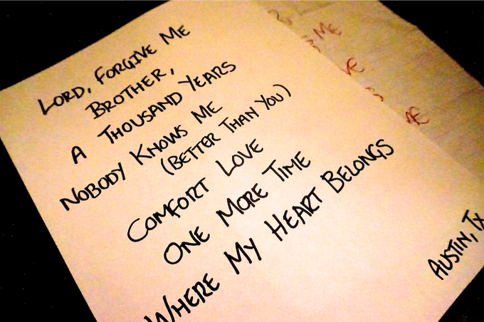 Original Set Lists from the U.S Tour this summer - available exclusively to you!