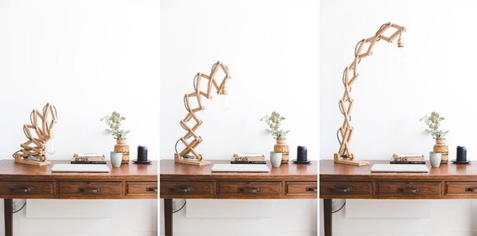 Desk Crane Lamp made from Oak