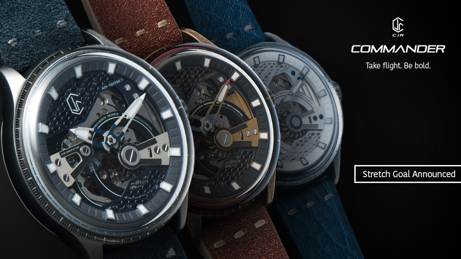Like a soaring jet, a timepiece that makes a resounding statement. Features spinning second hand, skeleton movement, 24-hour indicator.
