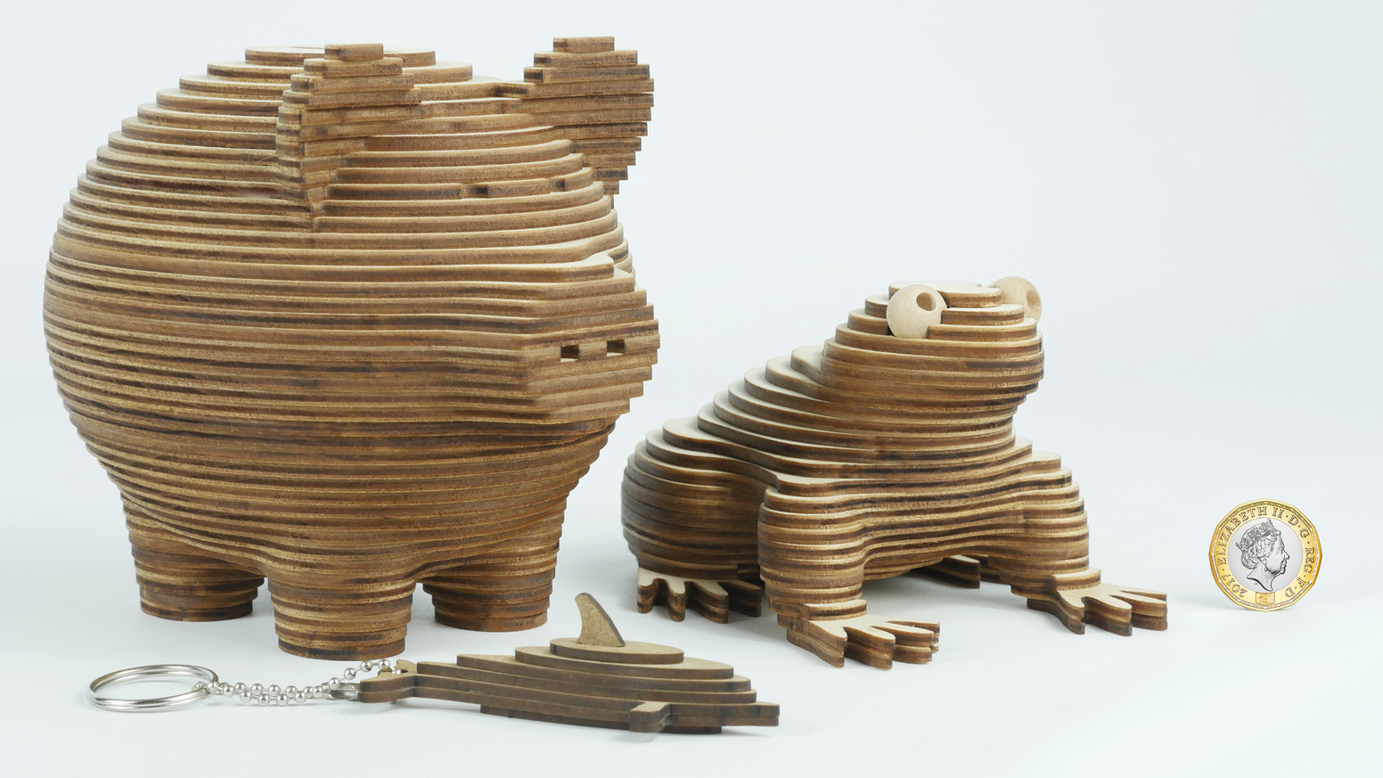 Stackamals are beautifully designed 3D animal model kits with hidden storage, built by stacking layers of laser cut birch plywood.
