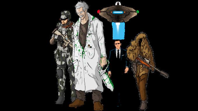 Natives: Guard, Mad Scientist, Secret Agent, Sniper & The Alien Ship.