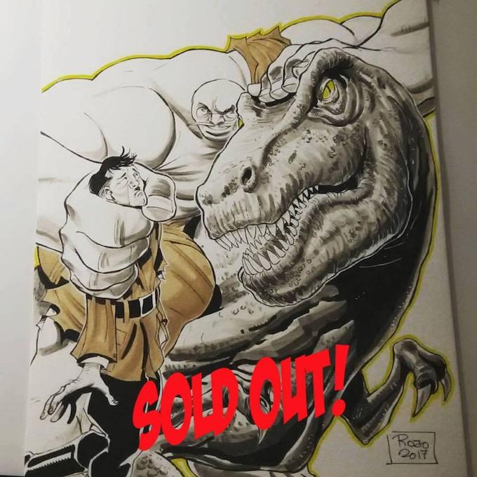 "11x8 ""T-Rex Snack"" Pin-up by artist Antonio Rojo"