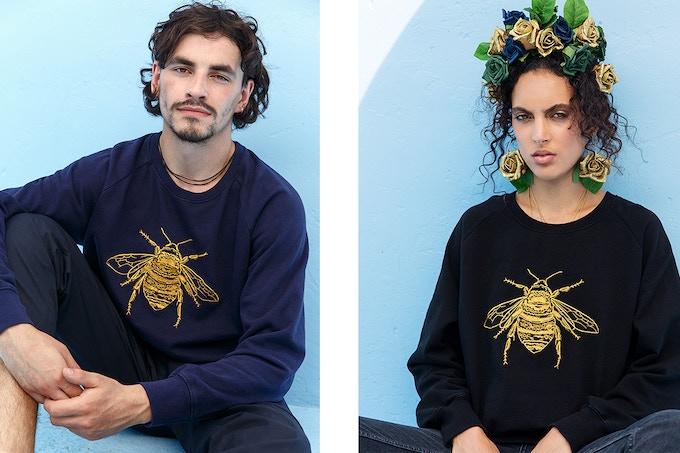 Unisex Embroidered Bee Sweatshirts