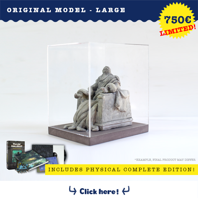 Receive an exclusive one of a kind, large handmade model in a wooden box for display. i.e. a statue, a robot, computer station..