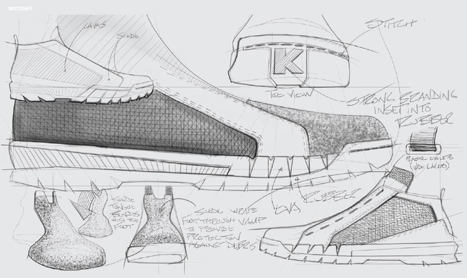 One of our early shoe ideation sketches