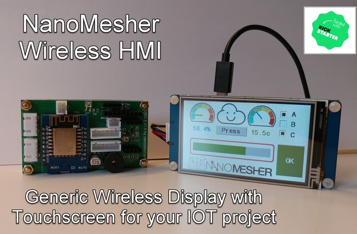 Wireless human machine interface display with touch