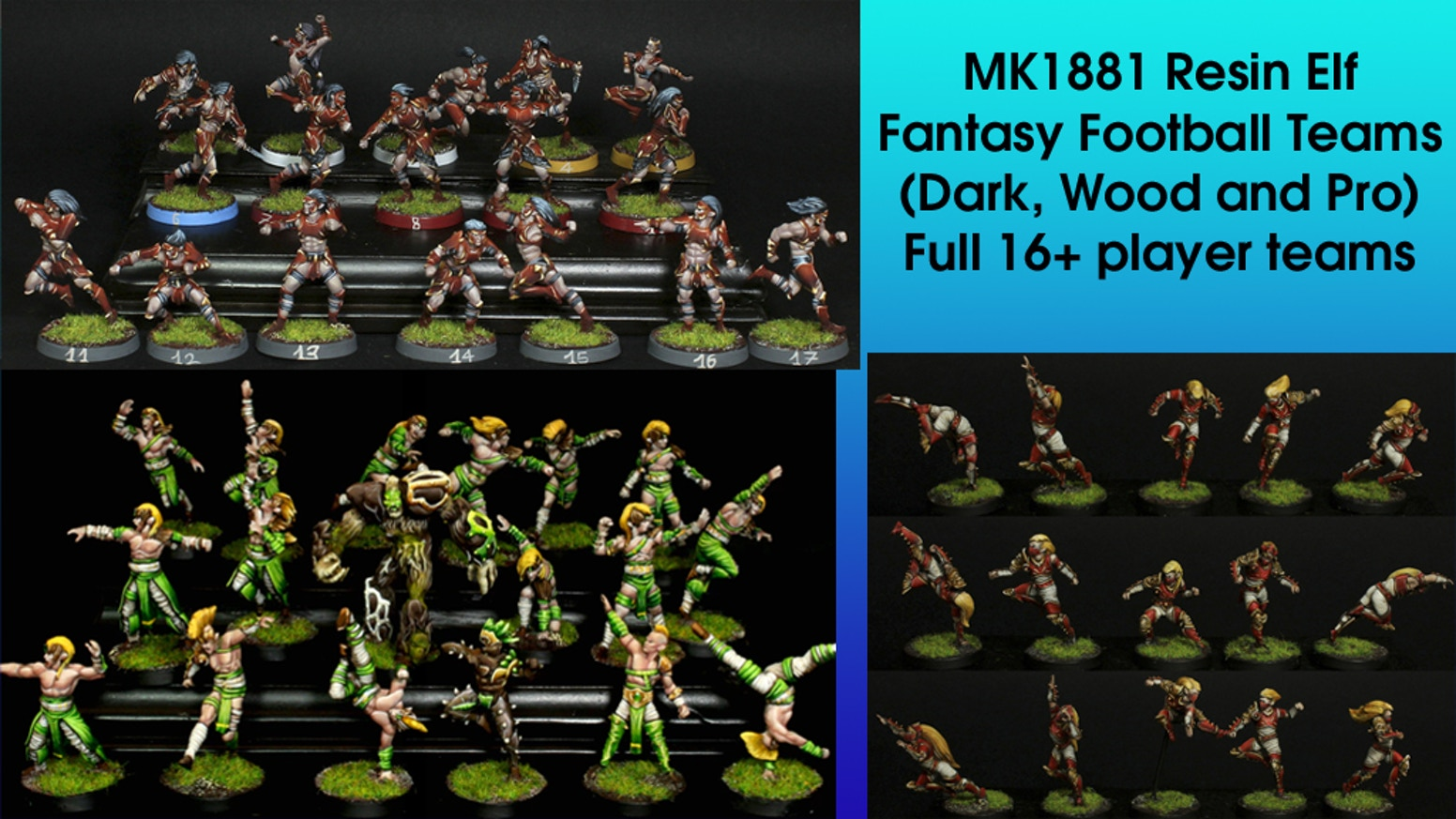 Bringing 3 of the MK1881 line of 32mm scale Elf Fantasy Football full 16 figure teams to affordable resin.