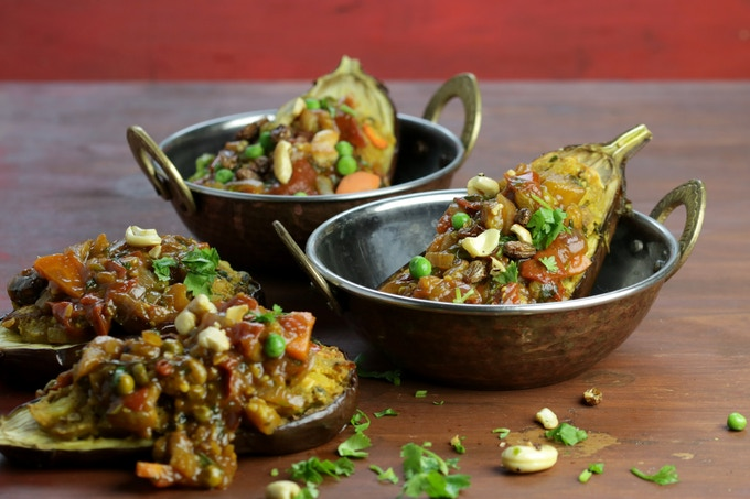 Shahi Bengan - Roasted Stuffed Eggplant
