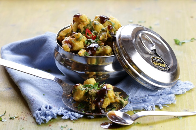 Gobi Pakoras - batter-fried cauliflower
