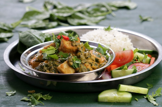 Saag Paneer - spinach curry & fried tofu cubes