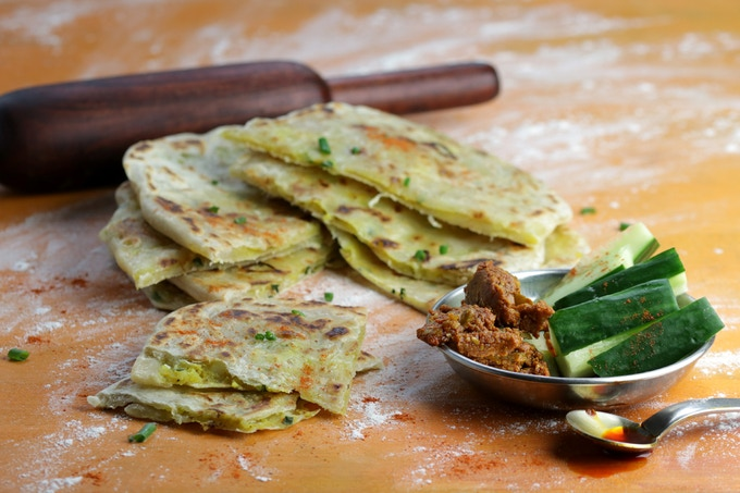 Aloo Paratha - grilled flatbreads stuffed with potatoes