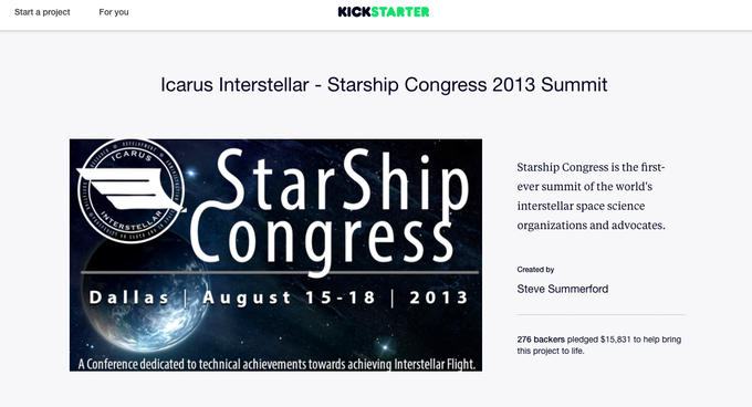 Starship Congress 2013 Kickstarter