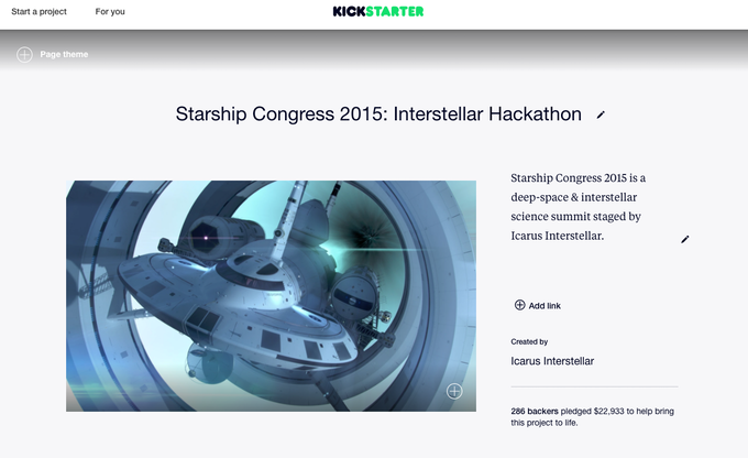 Starship Congress 2015 Kickstarter