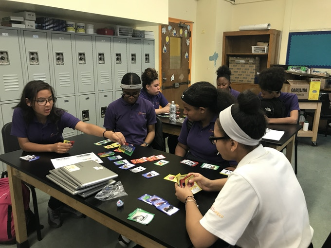 Playtesting the game at a school in the Bronx