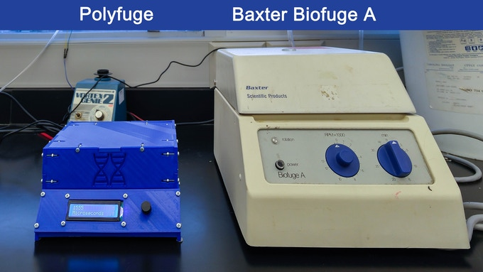 Physical comparison between Polyfuge and a typical laboratory microcentrifuge.