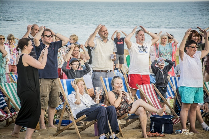 The audience warming up for Opera On The Beach in 2016