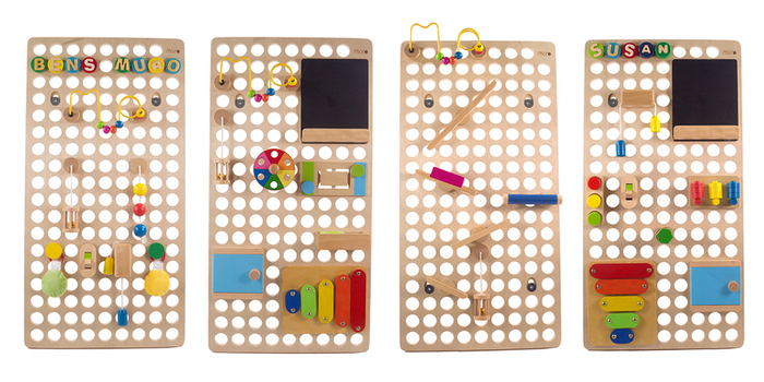 MURO is the ultimate activity wall and educational toy.  It is  a multi-functional activity board that you customise with the toys of your choice.