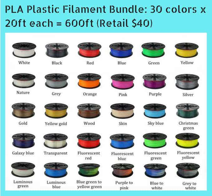 PLA (1.75mm) Plastic Filament Bundle: 30 colors x 20ft each = 600ft (Retail $40)