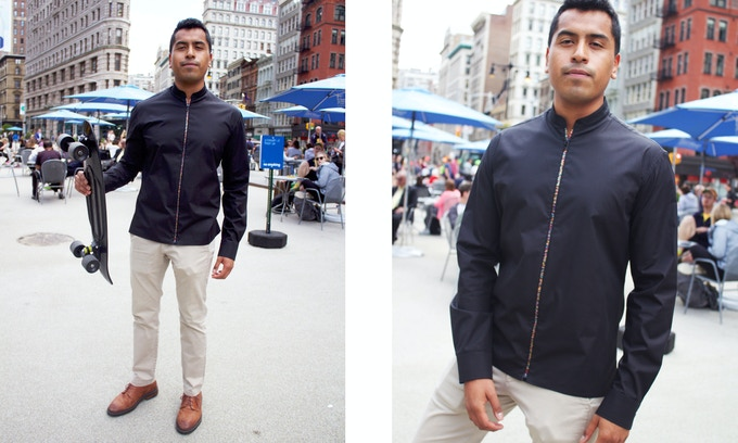 Black Zipper Shirt with mandarin collar