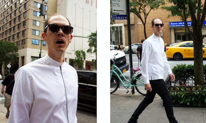 White Zipper Shirt with Mandarin Collar