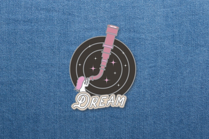"01. ""Dream"" enamel pin mockup. 1.5""x1.5"""