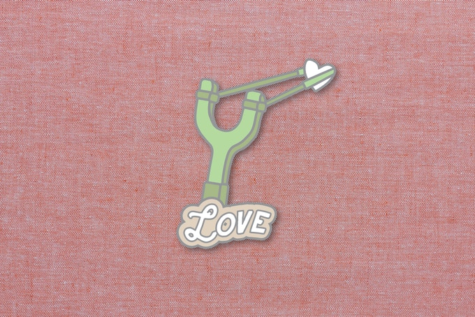 "02. ""Love"" enamel pin mockup. 1.5""x1.5"""