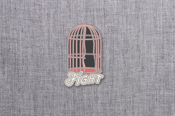 "03. ""Fight"" enamel pin mockup. 1.5""x1.5"""