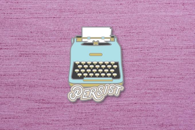 "04. ""Persist"" enamel pin mockup. 1.5""x1.5"