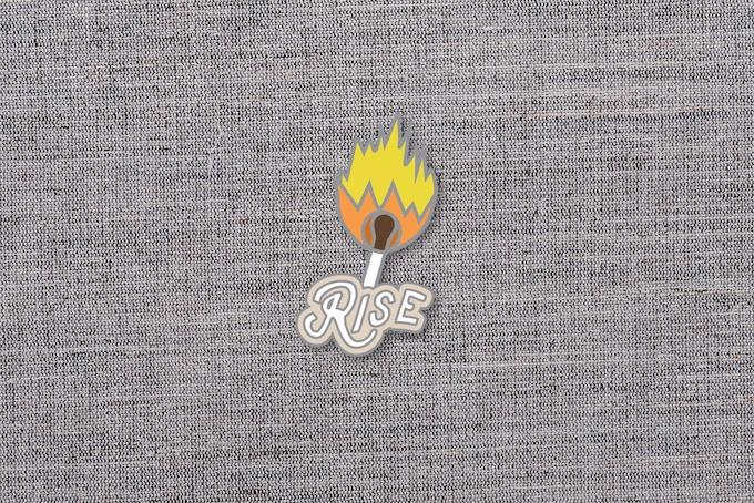 "05. ""Rise"" enamel pin mockup. 1.5""x1.5"""