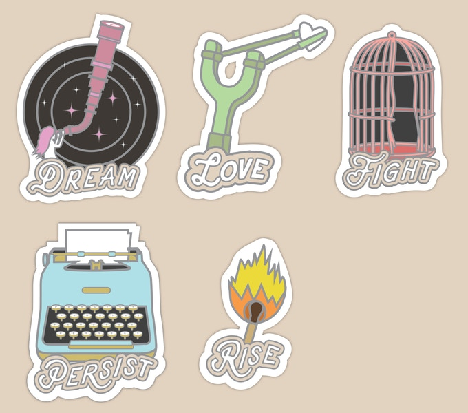 Set of all 5 stickers (NOTE: stickers will not glow in the dark)