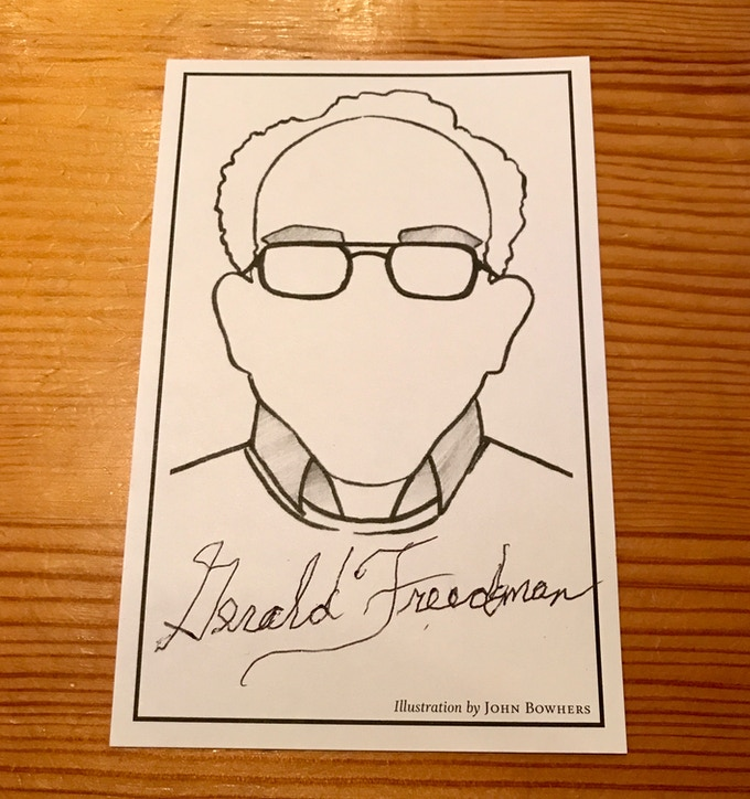 Bookplate label signed by Gerald Freedman, which will be mounted elegantly in the limited edition paperback.