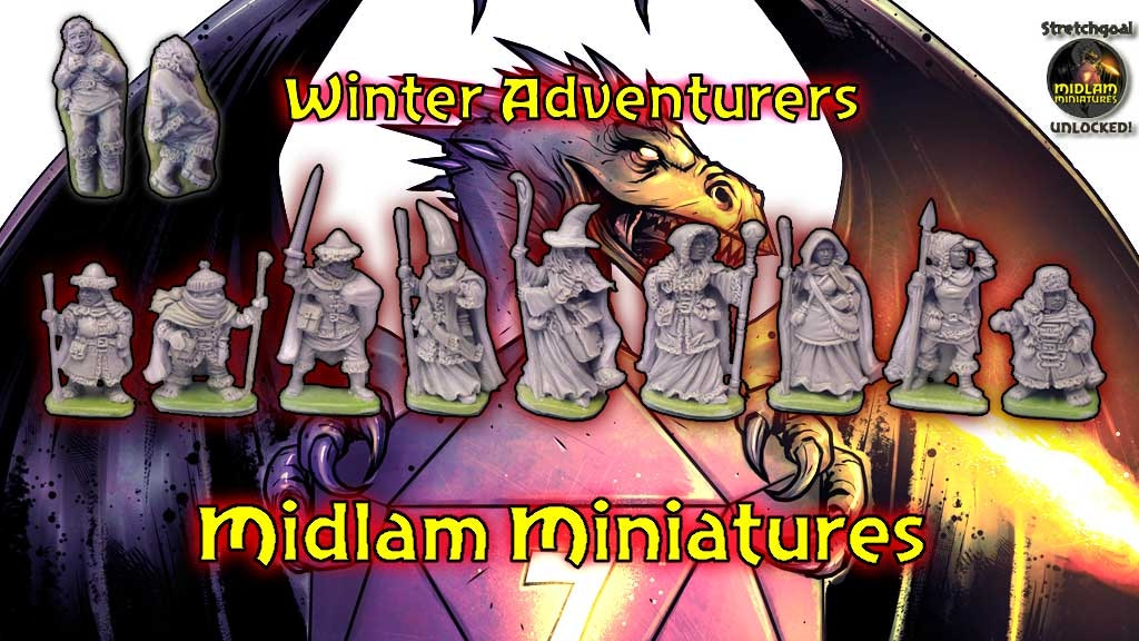 A set of 9 detailed 28mm miniatures, in winter clothing, suitable for your Fantasy miniature games from Midlam Miniatures.