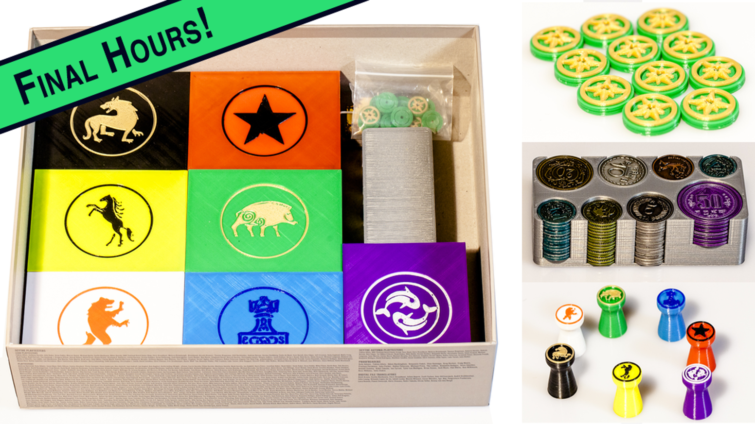 Custom 3D printed unofficial accessories for Scythe board game, including Faction boxes, Action Tokens, Encounter Tokens, & Coin Box.