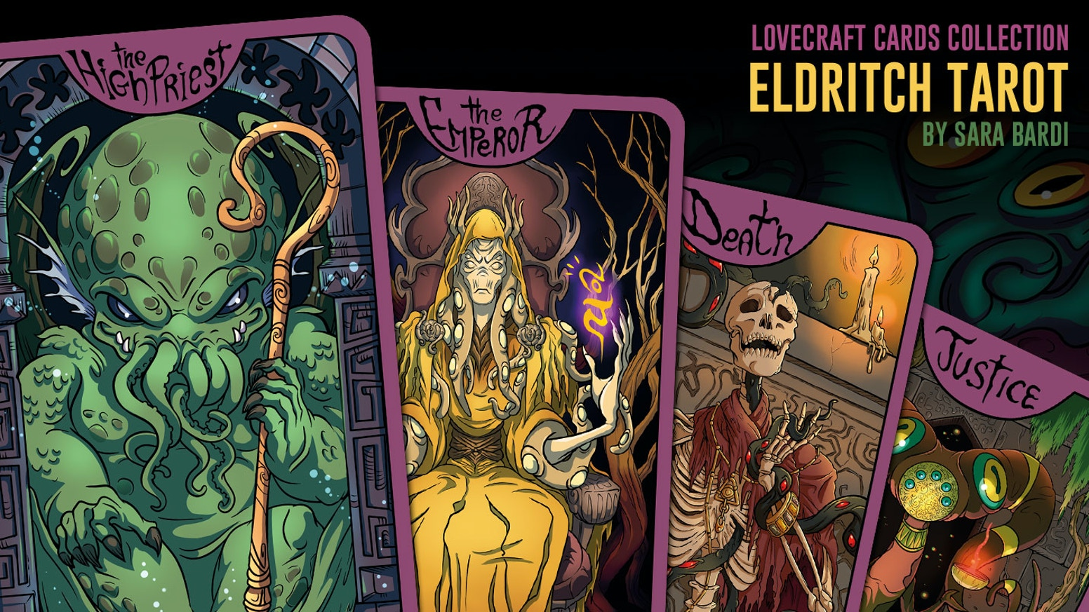 Major Arcana Tarot cards inspired by Lovecraft with the amazing art of Sara Bardi, and the new Cthulhu cult statuette for collectors.