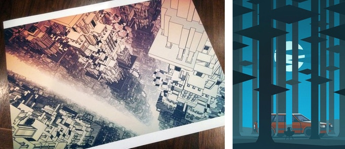 Left: William Chyr's Manifold Garden Infinite Architecture 1 Right: Cardboard Computer's Kentucky Route Zero Act II