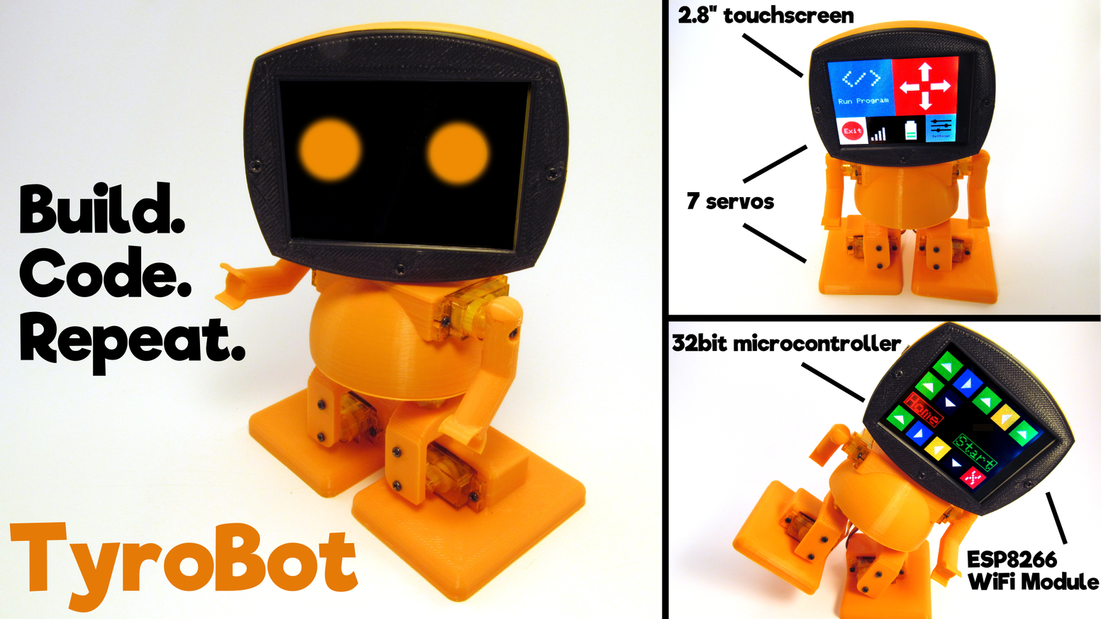 Teach yourself robotics and programming in one ultimate 3D printed robot kit. Open source, high tech, and novice friendly.