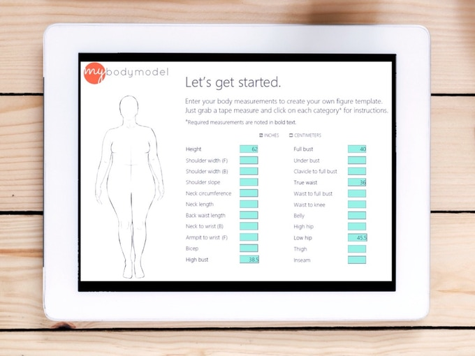 Enter your measurements into MyBodyModel's online Croquis Builder to get an outline sketch of your body.